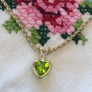 14K Gold August Birthstone Heart Slide Pendant
